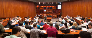 The courtroom classroom at St. Mary's School of Law
