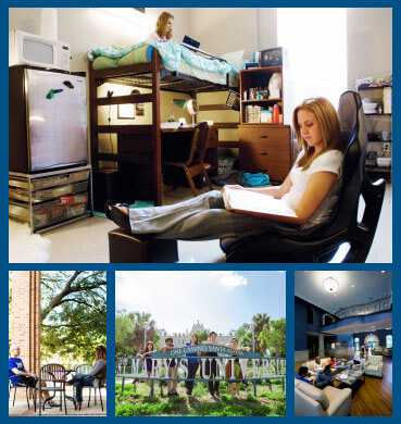 Cover of the StMU housing brochure featuring pictures of students enjoying residence halls