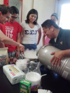 Students in the Science Living Community make ice cream with liquid nitrogen