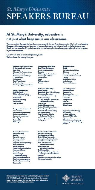 Speakers Bureau brochure