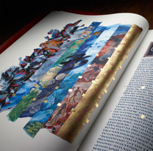 Illuminated illustration depicts Day 1 of Creation in the St. John's Bible