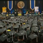 Photo of students standing together at Commencement