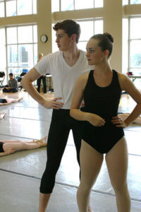 Two ballet dancers practice their skills at Joffrey ballet camp