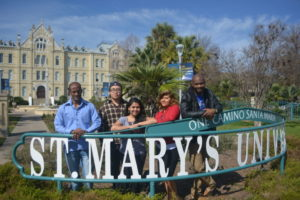 International students from IEP program at the St. Mary's sign