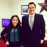 first-year undergraduate student, Barbara Falcon-Mendoza (left) with Rep. Justin Rodriguez (right)