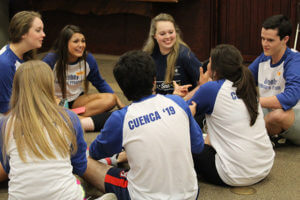 Greehey Scholars sit together and talk during orientation