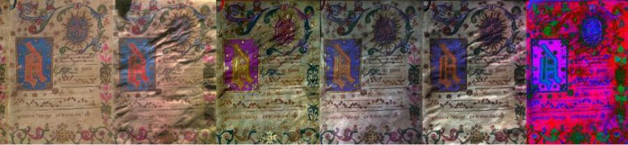 An illuminated manuscript test artifact shown using conventional photography (first in row) and then using additional spectral and reflectance transformation technologies that will be applied  to The Book of Jubilees.