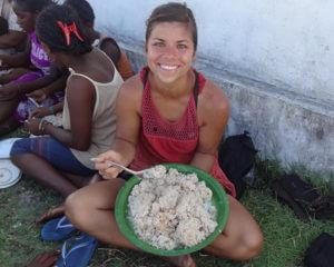 Samantha Bezdek eating a bowl of rice