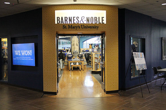 Exterior of the Barnes & Noble at St. Mary's University Bookstore.