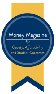 Money Magazine ribbon honoring St. Mary's University in San Antonio, Texas