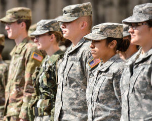 ROTC students stand in formation.