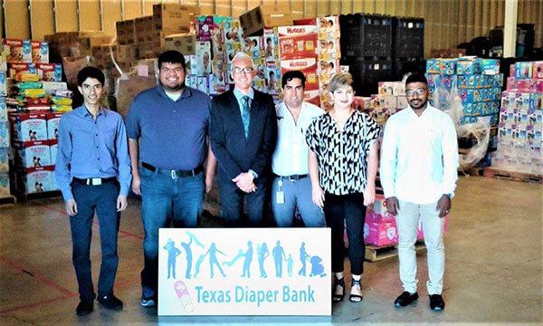 Industrial Engineering graduate student Ali Aljubran at the Texas Diaper Bank.