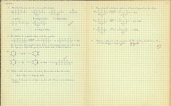 Minerva De La Garza's old notes from chemistry class.