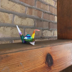 Origami crane by Treadaway Hall.
