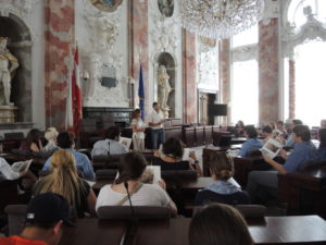 Students hear a law lecture in Innsbruck.