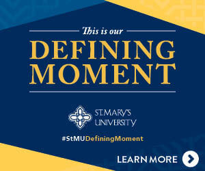 This is our Defining Moment, St. Mary's Logo, #StMUDefiningMoment, Learn More