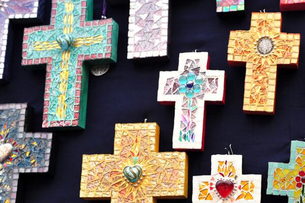 Handmade Mexican mosaic crosses