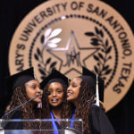 Moipei Triplets singing at Spring Commencement 2018