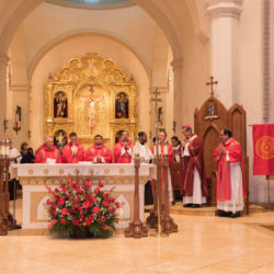 Priests in red vestments lead Red Mass in Fall 2017.
