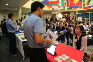 Business students at Risk Management career fair.