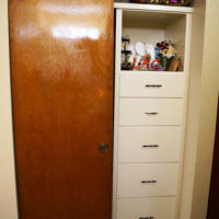 Built-in drawers and closet in Frederick Hall