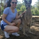 Monica Chavarria with kangaroos