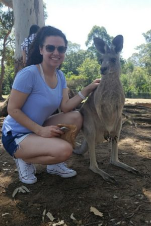 Monica Chavarria with kangaroos