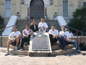 St. Mary's University School of Science Engineering and Technology students studying computer sciences and computer information systems developed a Fiesta Oyster Bake app. Joe Anthony (left to right), Vincent Nava, Christine Flores, Nathan Marcos, Jose Tanori, Lynntonio Robinson