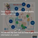 Fiesta Oyster Bake Companion app shows the festival map with food and other booth locations.