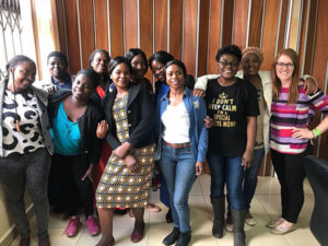 Psychology professor Jillian Pierucci, Ph.D., with autism caregivers in Zambia