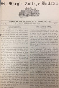The first issue of the St. Mary's College Bulletin