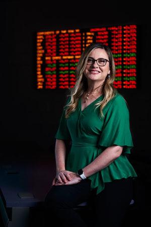 Associate Professor of Finance Violeta Diaz, Ph.D., in the trading room